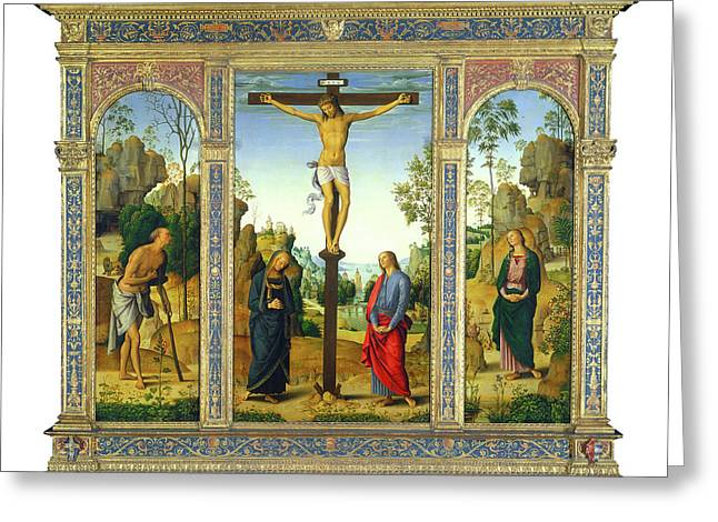 Pietro Perugino, The Crucifixion With The Virgin Greeting Card by Litz Collection