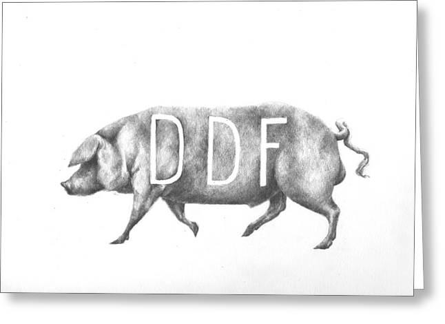 Pig Greeting Card by Alexander M Petersen