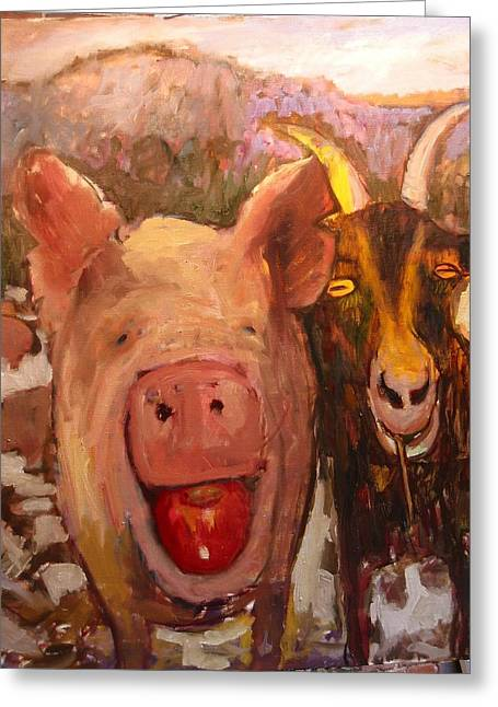 Pig And Goat Greeting Card