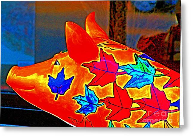 Pig Art Statuary Head Leaves Greeting Card by Margaret Newcomb