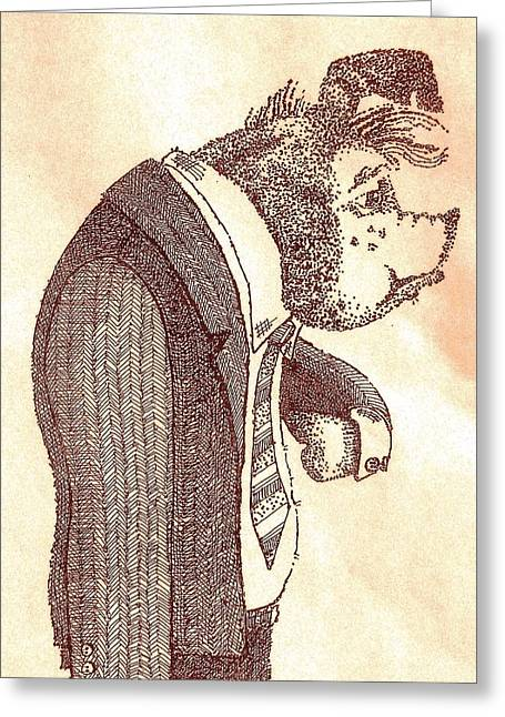 Greeting Card featuring the drawing Pig In Suit by Larry Campbell
