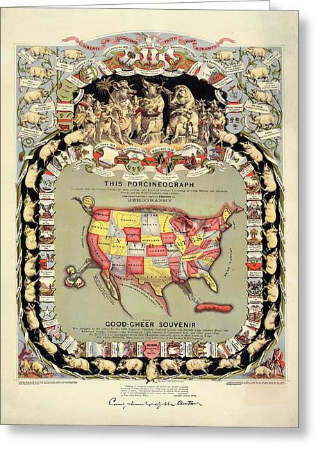 Pig-shaped Map Of The Usa Greeting Card by Library Of Congress