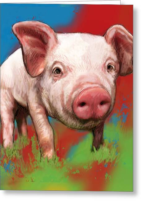 Pig Stylised Pop Modern Art Drawing Sketch Portrait Greeting Card by Kim Wang