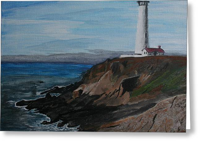 Pigeon Lighthouse Daytime Titrad Greeting Card by Ian Donley