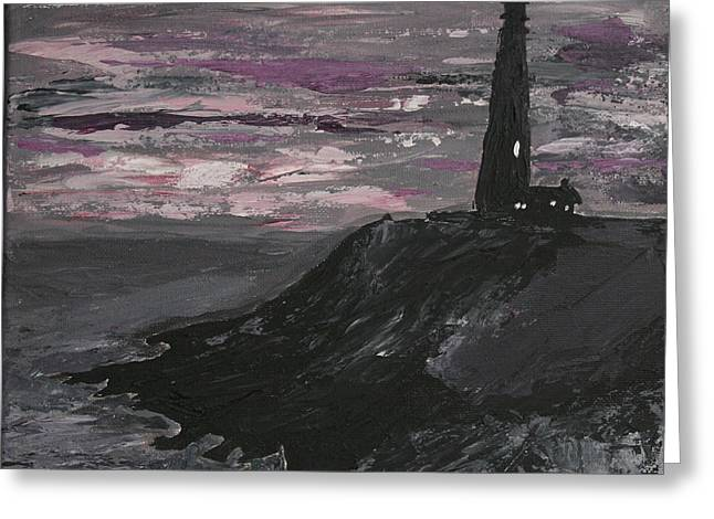 Pigeon Lighthouse Impasto Sunset Monochromatic Greeting Card by Ian Donley