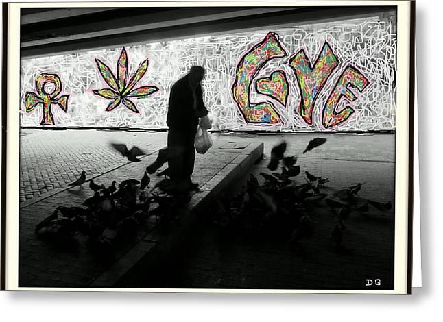 Pigeon Man Greeting Card by Daniel Gomez