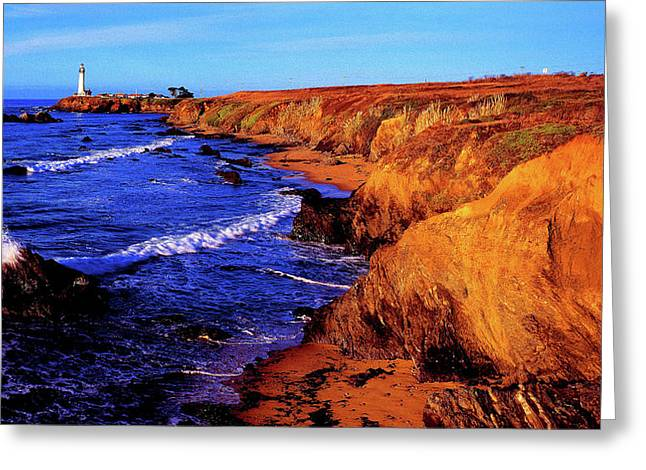 Pigeon Point Lighthouse At Coast Greeting Card