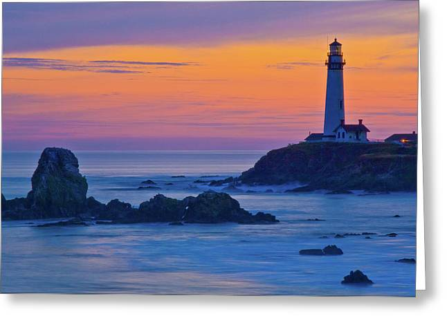 Pigeon Point Lighthouse At Dusk Greeting Card