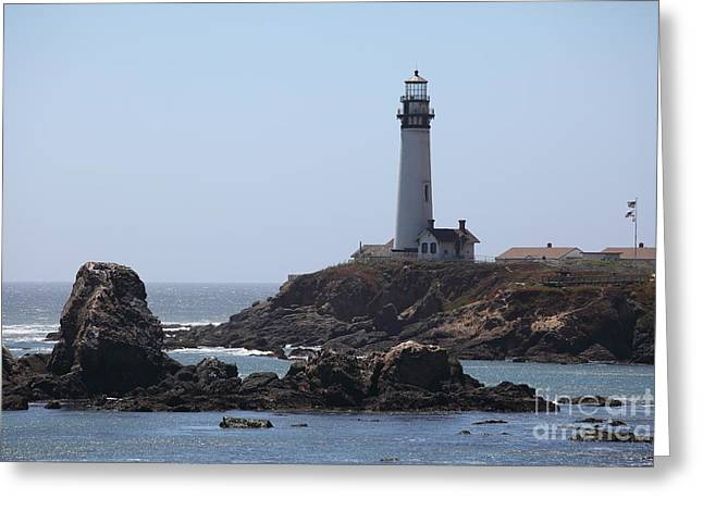 Pigeon Point Lighthouse In The Coast Of California 5d28280 Greeting Card by Wingsdomain Art and Photography