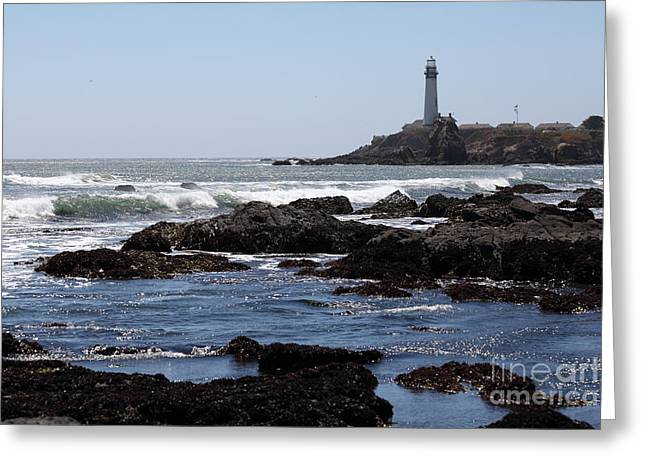 Pigeon Point Lighthouse In The Coast Of California 5d28291 Greeting Card by Wingsdomain Art and Photography