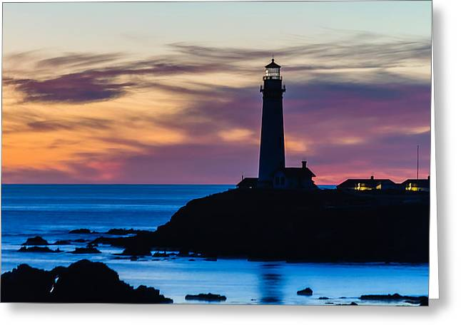Pigeon Point Sunset Greeting Card by Mike Ronnebeck