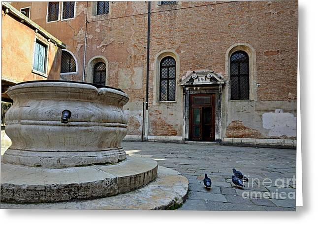 Pigeons In A Courtyard By Well Greeting Card by Sami Sarkis