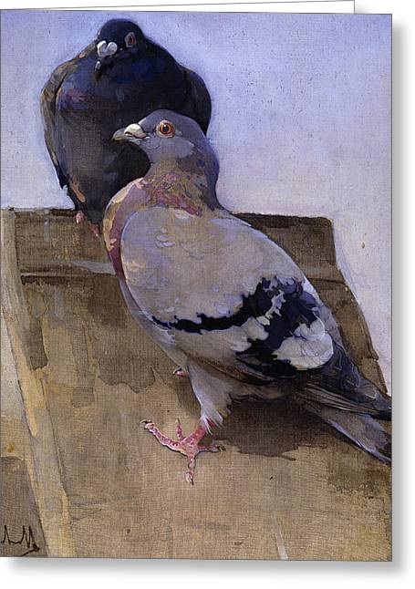 Pigeons On The Roof Greeting Card by Joseph Crawhall