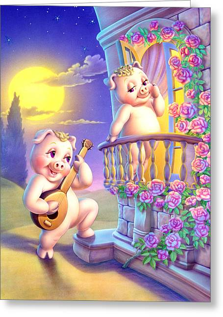 Pigglets Romeo And Juliette Greeting Card by Andrew Farley