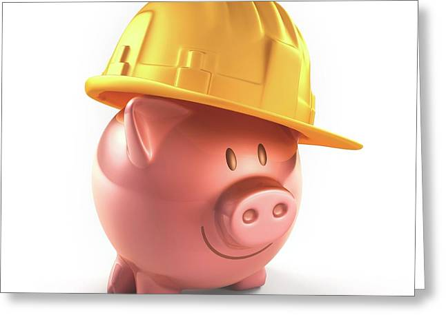 Piggy Bank And Hard Hat Greeting Card by Ktsdesign