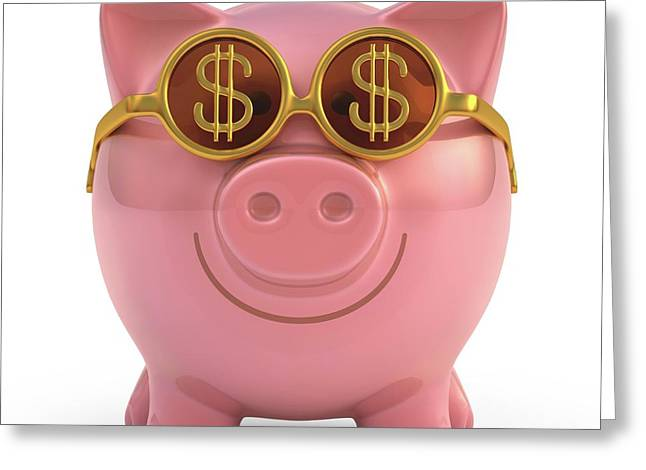 Piggy Bank With Sunglasses Greeting Card by Ktsdesign