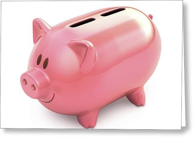 Piggy Bank With Two Slots Greeting Card by Ktsdesign