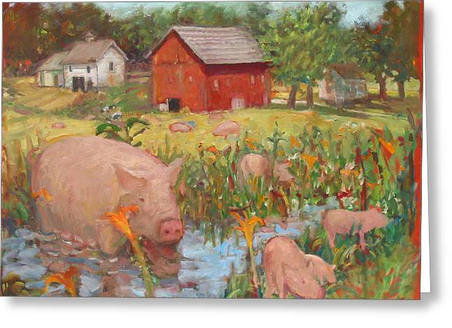 Pigs And Lilies Greeting Card