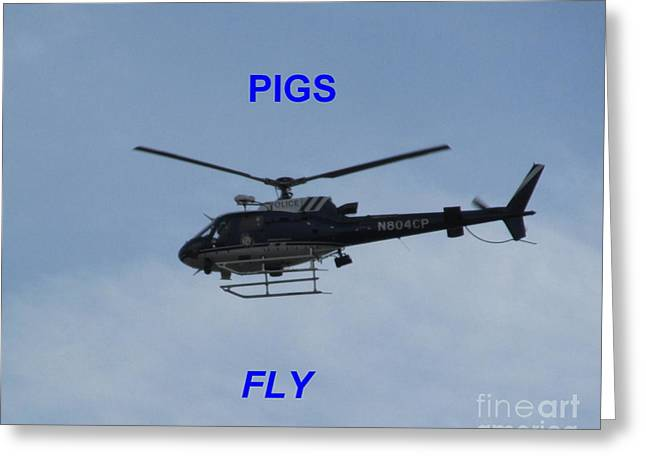 Pigs Fly Greeting Card by Joshua Bales