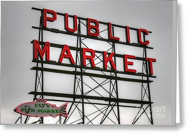 Pike Place Public Market Sign Greeting Card by Tap On Photo