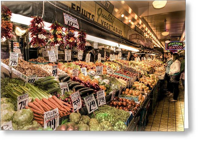 Pike Place Veggies Greeting Card by Spencer McDonald