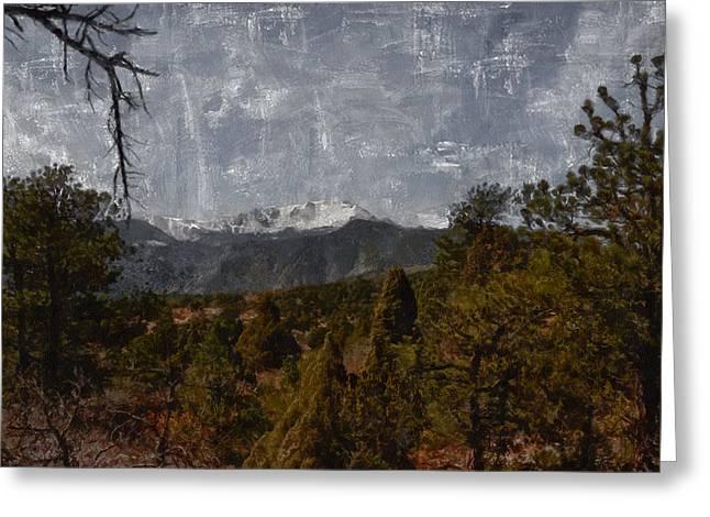 Pikes Peak 1 Digital Painting Greeting Card
