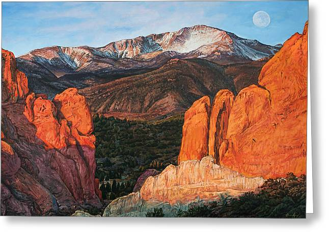 Pikes Peak Greeting Card by Aaron Spong