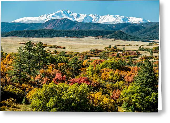 Pikes Peak Over Scrub Oak Greeting Card