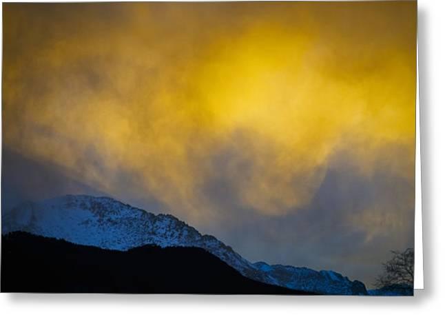 Pike's Peak Snow At Sunset Greeting Card