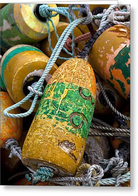 Pile Of Colorful Buoys Greeting Card