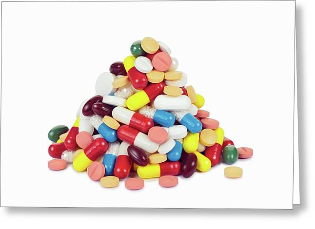 Pile Of Pills Greeting Card by Geoff Kidd