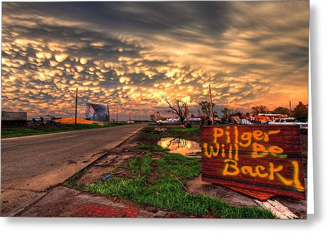 Pilger Will Be Back Greeting Card by Chris Allington