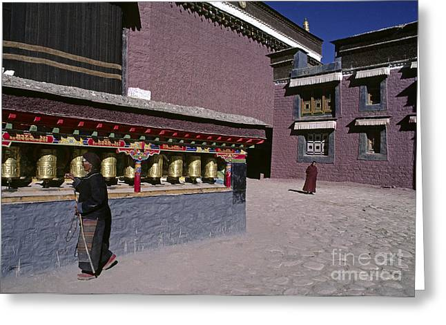 Pilgrim At Sakya Gompa Tibet Greeting Card by Craig Lovell
