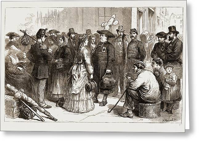 Pilgrimages In France-departure From A Provincial Station Greeting Card by Litz Collection