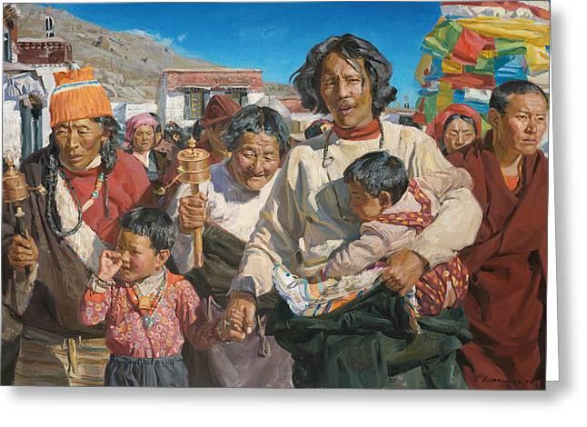 Pilgrims Greeting Card by Victoria Kharchenko