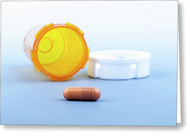 Pill And Bottle Greeting Card by Wladimir Bulgar