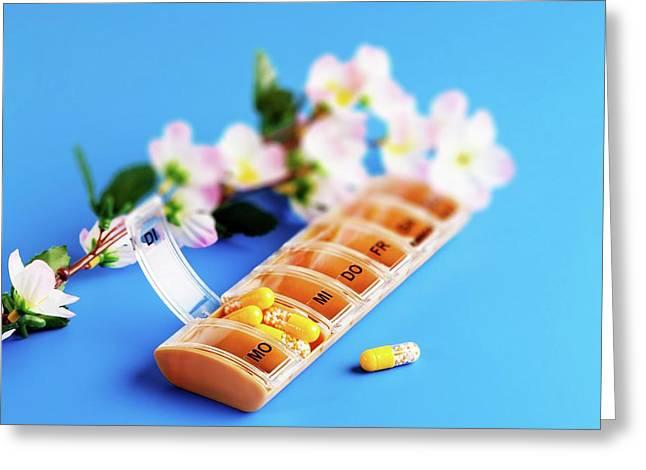 Pill Dispenser Greeting Card by Wladimir Bulgar