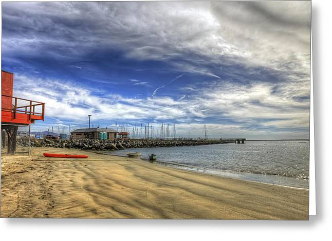 Pillar Point Harbor Beach View - Half Moon Bay 2.  Greeting Card by Jennifer Rondinelli Reilly - Fine Art Photography