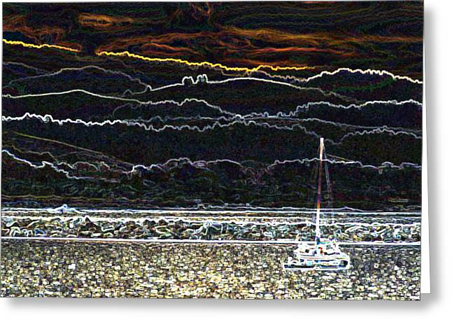 Pillar Point Harbor Below Half Moon Bay Hills Greeting Card