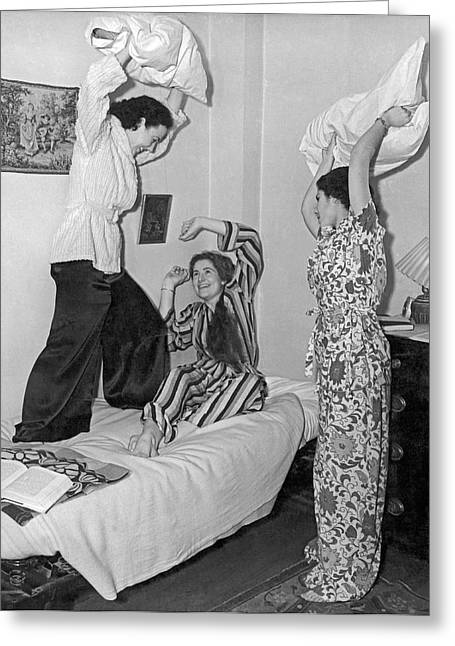 Pillow Fight At Columbia Greeting Card by Underwood Archives
