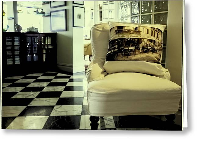 Pillow Story Aka Cafe In Venice Greeting Card by Madeline Ellis