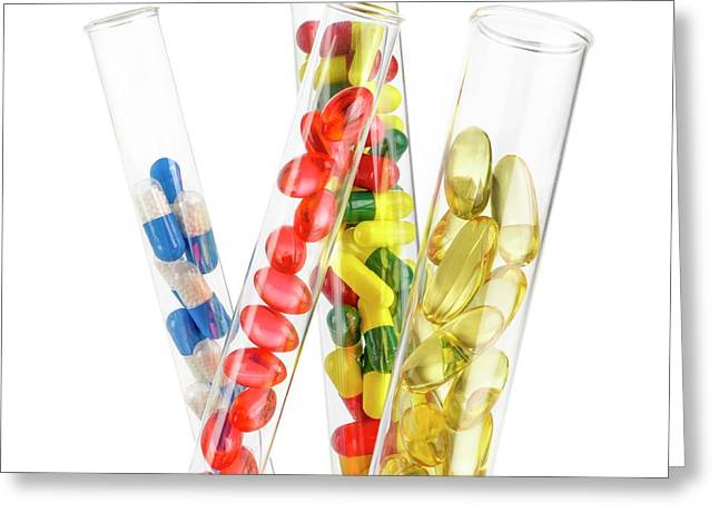 Pills And Capsules In Test Tubes Greeting Card by Science Photo Library