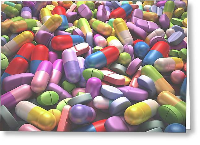 Pills And Tablets Greeting Card by Ktsdesign