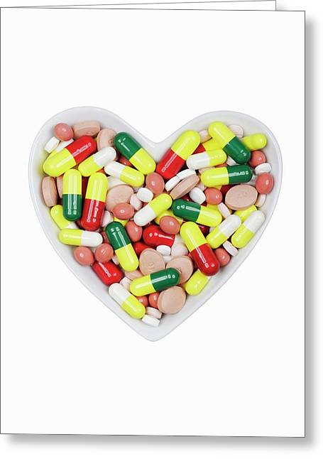 Pills In A Dish Greeting Card by Geoff Kidd