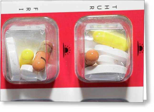 Pills In Daily Container Greeting Card by Dr P. Marazzi