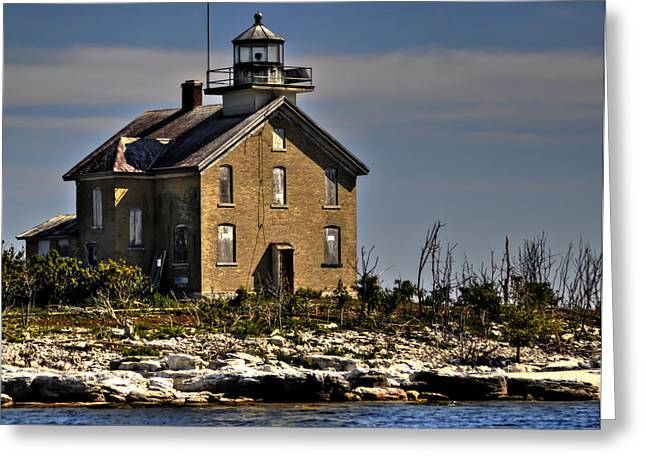 Greeting Card featuring the photograph Pilot Island Lighthouse by Deborah Klubertanz