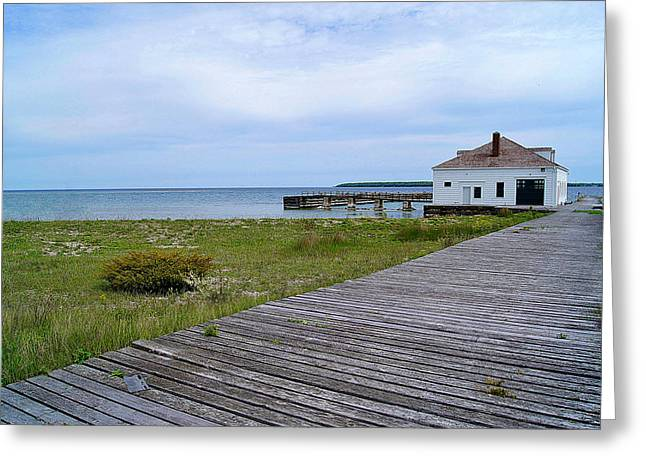 Pilot Island Us Coast Guard Lifesaving Staionboathouse Of Door County Greeting Card
