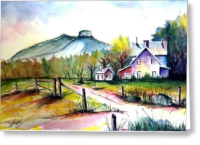 Pilot Mountain Nc Farm Road Sold Greeting Card by Richard Benson