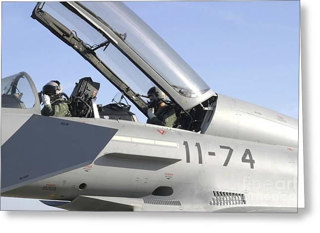 Pilots Perform Preflight Checks Greeting Card by Timm Ziegenthaler