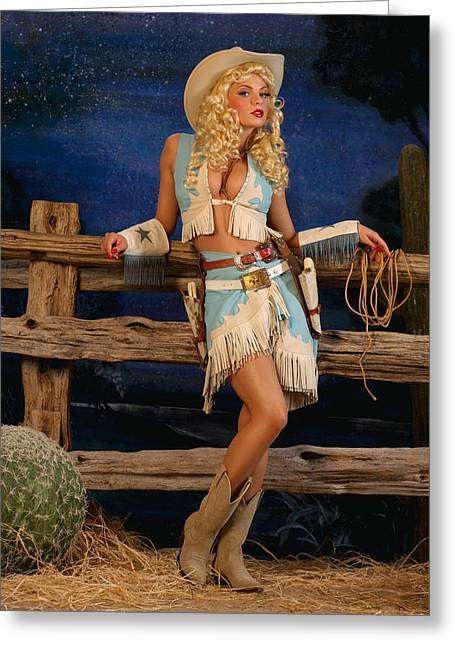 Pin-up Cowgirl Greeting Card by Glenn Specht